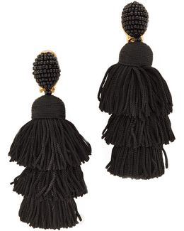 Long Silk Tiered Tassel Clip On Earrings