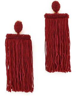 Long Silk Waterfall Tassel Clip On Earrings