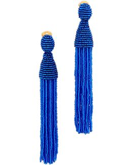 Beaded Tassel Clip On Earrings