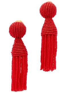 Short Beaded Tassel Clip On Earring