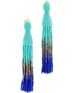 Long Beaded Ombre Tassel Earrings