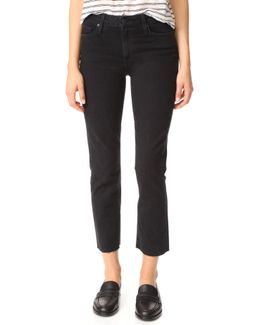 Jacqueline Straight Leg Jeans With Raw Hem