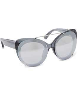 Cat Aviator Mirrored Sunglasses