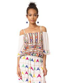 Open Shoulder Embroidered Dress