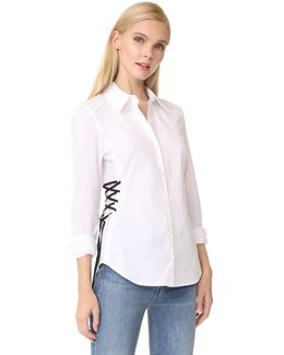 Lila Lace Up Button Down Shirt