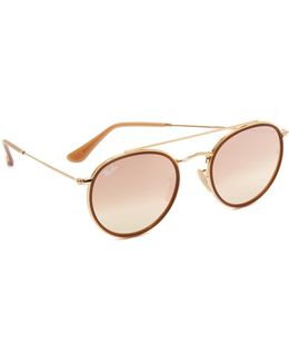Round Aviator Flash Sunglasses