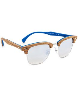Wood Clubmaster Flash Sunglasses