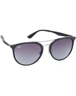 Round Brow Bar Aviator Sunglasses