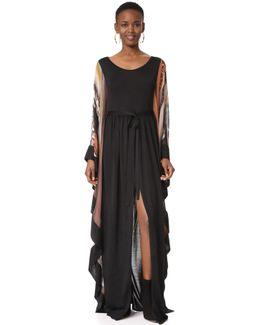 Mixed Fabric Maxi Dress