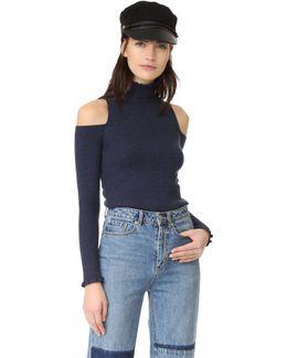 Open Shoulder Ribbed Pullover
