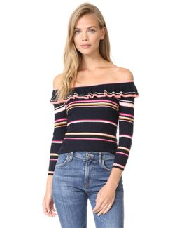 Long Sleeve Striped Rib Pullover