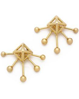 Pyramid Fan Stud Earrings
