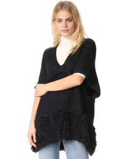 Knit Poncho With Loops