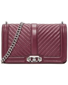 Chevron Quilted Love Cross Body Bag