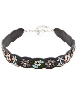 Floral Embroidery Guitar Strap Choker Necklace