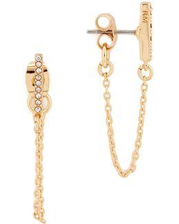 Pave Bar Chain Earrings