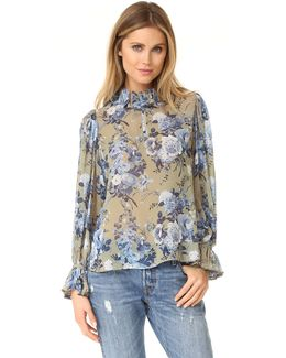 Floral Bouquet Ruffle Collar Blouse