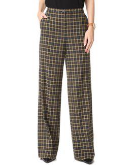 High Waisted Plaid Trousers