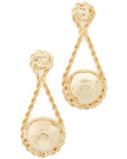 Coin Wrapped In Chain Earrings