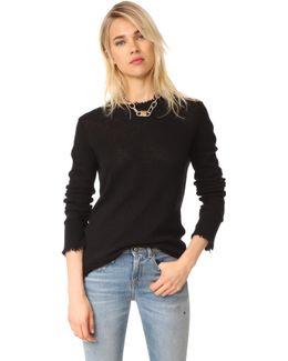 Distressed Edge Cashmere Sweater