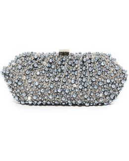 Grey Imitation Pearl Embroidered Clutch