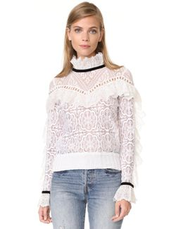 Lace Ruffle Sweatshirt