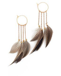Statement Feather Hoop Earrings