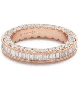 18k Gold 3 Sided Eternity Ring With Baguette Diamond Center