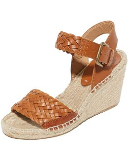 Woven Leather Wedge Espadrilles