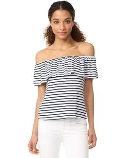 1x1 Venice Stripe Off Shoulder Top