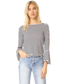 French Stripe Bell Sleeve Top