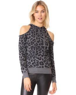 Printed Leopard Cold Shoulder Hoodie