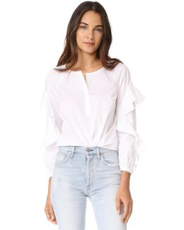 Ruffled Sleeve Button Down Shirt