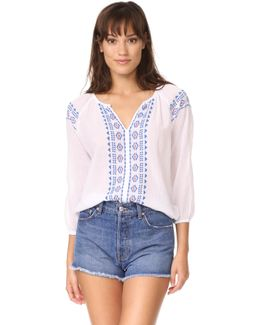 Split Neck Top With Embroidery
