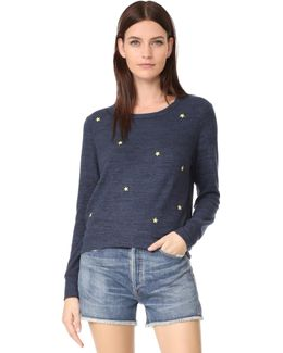 Star Patches Cropped Sweatshirt