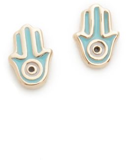 Mini Hamsa Stud Earrings