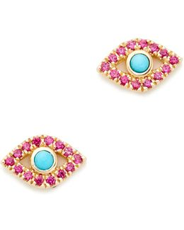 Small Bezel Evil Eye Stud Earrings