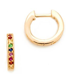 Small Rainbow Huggie Hoop Earrings