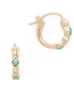 Turquoise Diamond Bezel Huggie Hoop Earrings