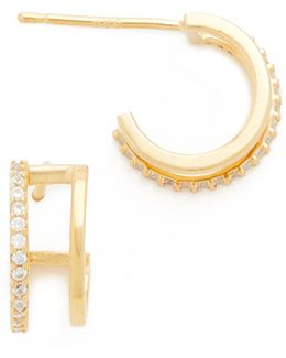 Double Hoop Pave Earrings