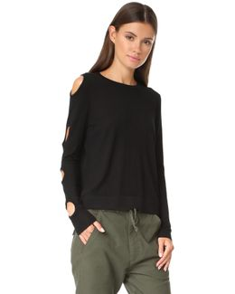 Crew Neck Sweater With Keyhole