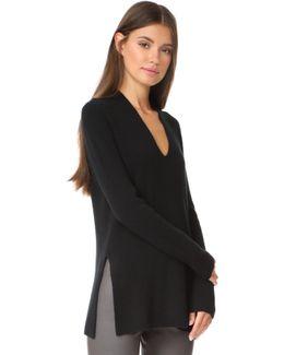 Long Sleeve Slit V Sweater