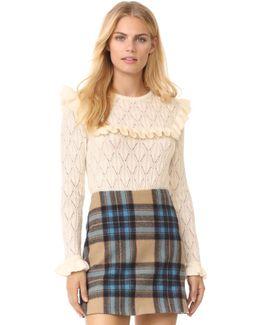 X Claudia Schiffer Ruffle Long Sleeve Pullover