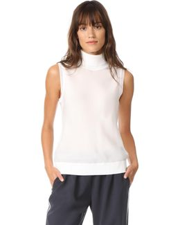 Silk Bias Sleeveless Turtleneck