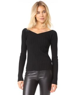 Wide V Rib Sweater