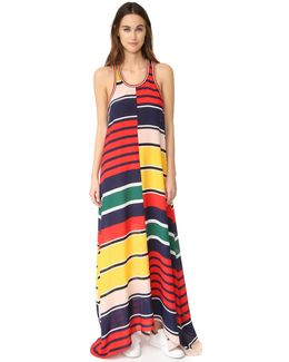 Rugby Stripe Racer Back Maxi Dress