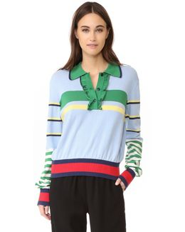 Striped Ruffle Polo Sweater