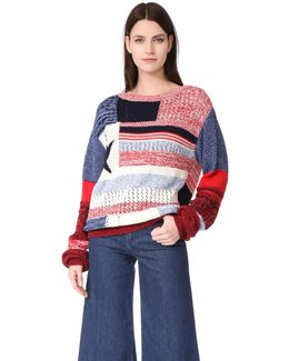 American Flag Patchwork Sweater