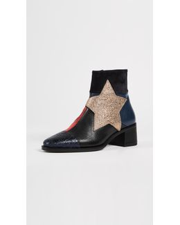 Patchwork Star Ankle Booties