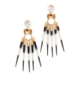Hanging Porcupine Clip On Earrings